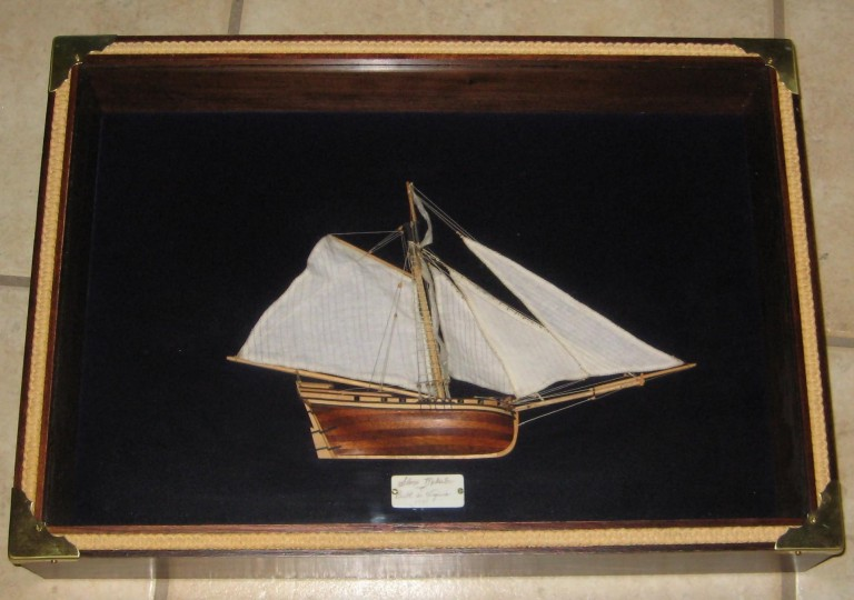 Display Case with Half-Hull Model