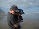 Robert and grandson Harrison - Canno Beach - Oregon