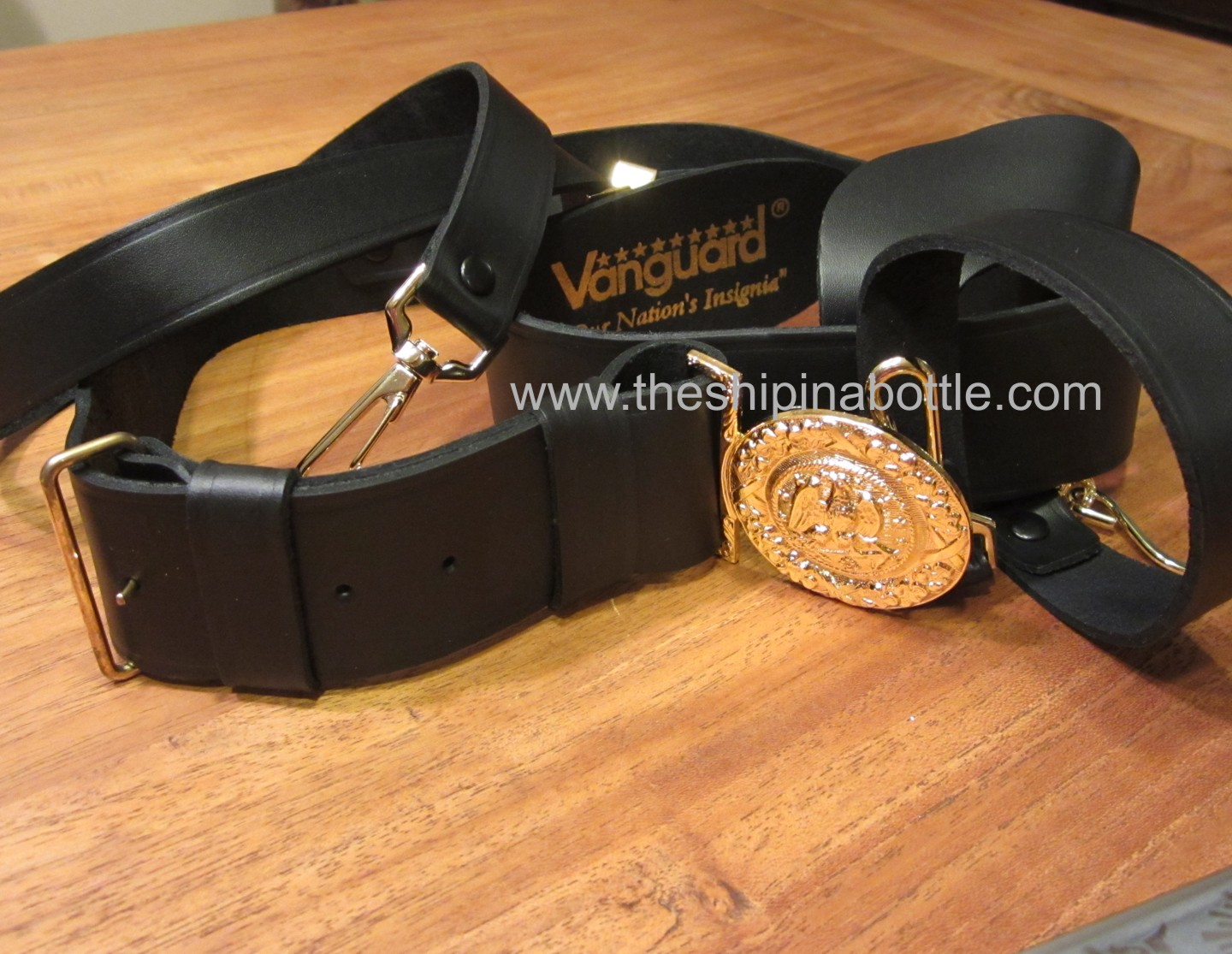 Vanguard's Black Leather Sword Belt for Navy Officer